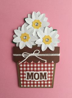 Handmade Mother's Day Card, Flowers, Flower Pot, Mother's Day, Mum, Mom, Mommy by JuliesPaperCrafts on Etsy
