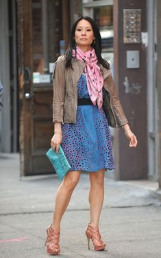 Lucy Liu - Lucy Liu and Michael C. Hall Film 'East Fifth Bliss', pink scarf, dress, #style