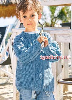 Летний деним. Голубой пуловер для мальчика 3-9 лет. Вязание спицами для детей