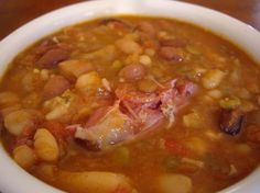 Best ham and bean soup I've ever made. Make with a Honey Baked Ham bone for extra deliciousness. Bean Soup Recipes, Crockpot Recipes, Cooking Recipes, Healthy Recipes, Ham And Beans, Ham And Bean Soup, Soup Beans, Ham Hock Soup, Meals