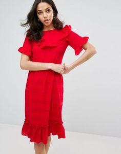 Lost Ink Ruffle Edge Dress