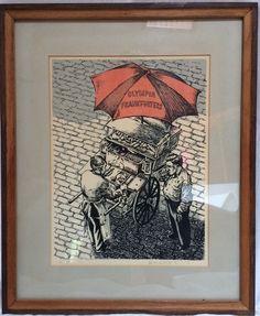 Vintage Frankfurter Man Screen Print Art City Corner Food Cart Anthony Wisowaty