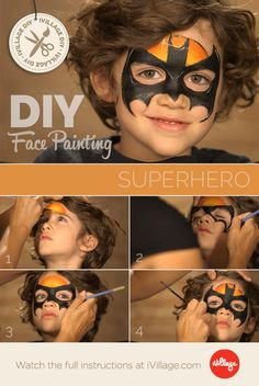 Simple face painting designs are not hard. Many people think that in order to have a great face painting creation, they have to use complex designs, rather then Batman Face Paint, Mime Face Paint, Face Paint Makeup, Superman Face Painting, How To Face Paint, Face Painting Tutorials, Face Painting Designs, Halloween Make Up, Halloween Face Makeup