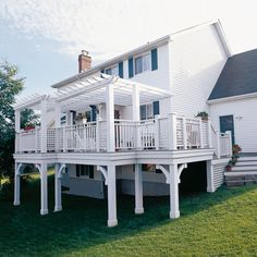 Private Pergola...Add a railing of lattice and vertical spindles to increase the privacy offered by a pergola. To produce a substantial structure, wrap the support posts and railing in 1-inch pine. Decorative arches and plinth blocks are located at the column bases.