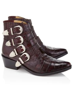 Bordeaux Embossed Leather Buckled Boots Toga Pulla