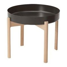 IKEA - YPPERLIG, Coffee table, dark gray, birch, Solid birch is a durable natural material. The included plastic feet protect the floor from scratches. Four plastic feet to protect the floor against scratches included. For indoor use. Ikea X Hay, Ypperlig Ikea, Ikea New, Ikea Coffee Table, Small Coffee Table, Ikea Round Table, Ikea Lisabo, Hacks Ikea, Tuff Tray