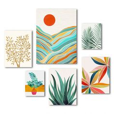 Americanflat - Mid-Century Tropical by Modern Tropical - 6 Piece Wrapped Canvas Set Simple Canvas Paintings, Small Canvas Art, Mini Canvas Art, Diy Canvas, Canvas Art Prints, Modern Canvas Art, Abstract Painting Modern, Three Canvas Painting, Canvas Fabric