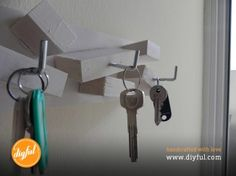 Wall mounted key holder by Diyful. Mobile, wallet, keys, and you are ready to go! Well, that's the case when you know where your keys are. We handcrafted a solution so you will never lose your keys again! We will help you create a simple yet diyful wall mounted key holder.