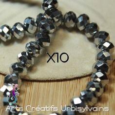 10 perles en verre 6x4,5 mm argent facetté - noel