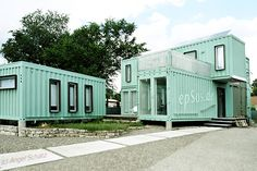 Green shipping container house.