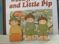 Wood Toy Set Woody Hazel and Little Pip Story Book by MomNmee, $30.95