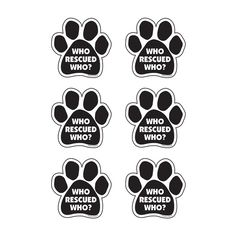 Black and White Paw Magnets - Set of 6