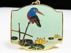 Wonderful gold japanese cloisonne pendant with by SAULSOGALLERY