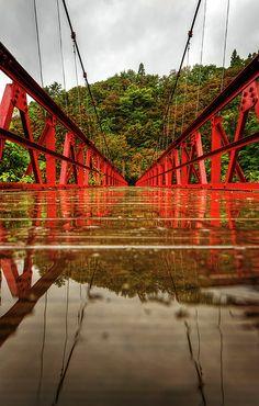 Across Red Bridge, Akita, Japan