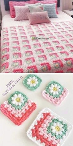 Granny Square Crochet Pattern, Crochet Flower Patterns, Crochet Stitches Patterns, Crochet Granny, Baby Blanket Crochet, Crochet Designs, Crochet Flowers, Crochet Blocks, Crochet Daisy