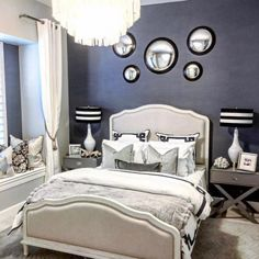 Beautiful cozy room for any guest. Added grasscloth navy wallpaper for an extra element of glam. #interiordesign #homedecor #ballarddesigns #jossandmain