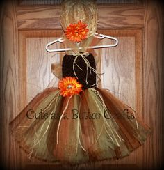 Adorable infant toddler scarecrow tutu costume with mini straw hat