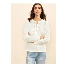SheIn(sheinside) White Eyelet Lace Up Striped Embossed Sweatshirt (€15) ❤ liked on Polyvore featuring tops, hoodies, sweatshirts, white, sweater pullover, v neck tops, white top, long sleeve tops and pullover sweatshirt