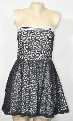 SWEET LOVE Black Lace w/ Off-White Lining Strapless Dress Large Elastic Band #SweetLove #Sexy #Cocktail