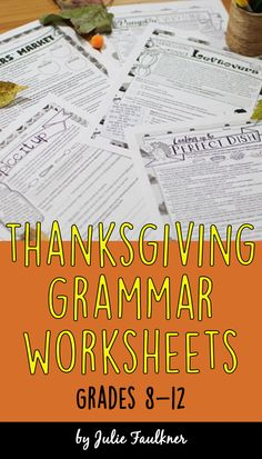 Thanksgiving grammar worksheets, middle school English, high school English, Thanksgiving activities, Thanksgiving lessons