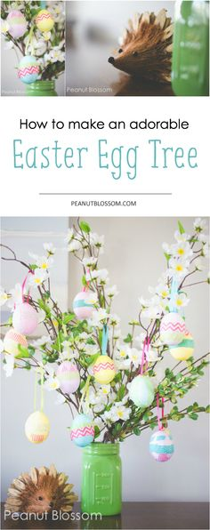 How to make an adorable Easter egg tree. Perfect project for an afternoon! Diy Pascoa, Hoppy Easter, Easter Bunny, Egg Tree Easter, Diy Easter Decorations, Easter Centerpiece, Centerpiece Ideas, Easter Crafts, Easter Ideas