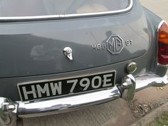 1967 Grey MGB at the David Manners Group buying a few service parts…
