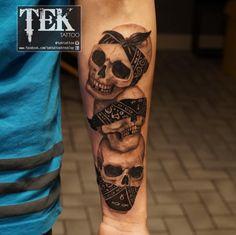 Amazing skull 'hear no evil, see no evil, speak no evil' tattoo