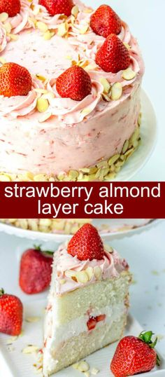 Strawberry Almond Layer Cake {A Beautiful Layer Cake for Summer} cake/layer cake/strawberry Layers of delicious almond and strawberry this Strawberry Almond Layer Cake is the perfect mix of flavors that will be your favorite cake of the summer! via @thebe