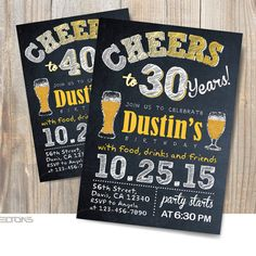 Beer Birthday Party Printable Invitation 30th