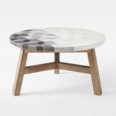 Mosaic Tiled Coffee Table - Isometric Concrete Top