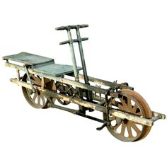 """1870's Railroad Velocipede, USA.  This is an original full size railroad """"velocipede"""" (from the French for """"swift footed""""). It's the earliest manufactured model and its on perfect working order. In fact this historic vehicle is known as """"No.1 Velocipede Car"""" in the manufacturers 1800s catalog."""
