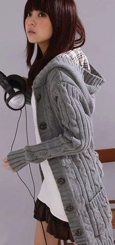 Cable Knit Oversized Cardigan - Grey | Knitting | Pinterest ...