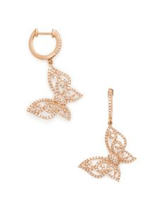 Pave Diamond Butterfly Drop Earrings by Vendoro at Gilt