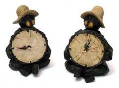 Black Bear Clock in Two Styles, Price Each 6 inches deep of resin  $21.19