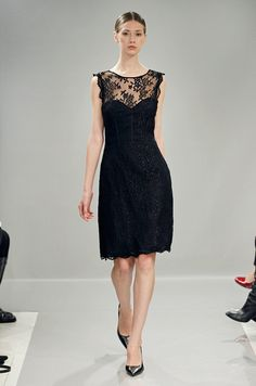 Black lace dress for bridesmaids from Monique Lhuillier Bridesmaids, Fall 2013  Lace Dress #2dayslook #sasssjane #susan257892 #watsonlucy723 #LaceDress  www.2dayslook.com