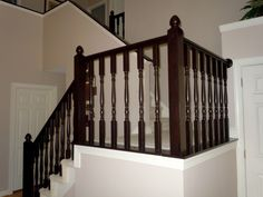Oak stair railing makeover using gel stain - Semi-Domesticated Mama featured on Remodelaholic