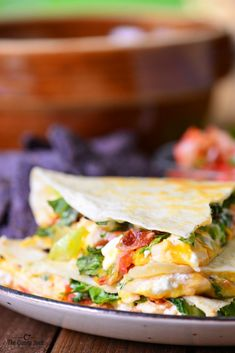 Chicken Club Quesadilla - A fast, easy meal idea that is full of flavor. These quesadillas are stuffed with chicken, bacon, cheese and salsa!