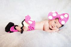 EXCLUSIVE  Line Disney Crochet Baby Girl /Newborn Minnie Mouse Outfit Headband diaper cover with tutu skirt and shoes - in PINK Photo. Prop. $55.00, via Etsy.