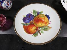"""Vintage Mitterteich Bavaria 7-1/2"""" Fruit Plate Apples & Plums picclick.com"""