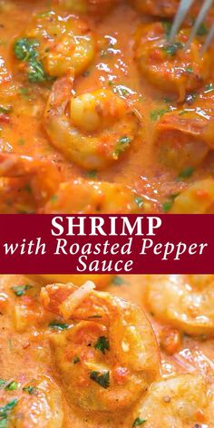 Cajun Delicacies Is A Lot More Than Just Yet Another Food This Shrimp In Roasted Pepper Sauce Is Lip-Smacking Good Roasted Bell Pepper Paired With Cream And Parmesan Cheese Create A Very Unique And Delicious Sauce. Shrimp Dishes, Fish Dishes, Shrimp Recipes, Fish Recipes, Best Seafood Recipes, Chicken Recipes, Camarones Fritos, Good Food, Yummy Food