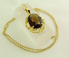 Imposant: Grosser RAUCHQZARZ Hänger & COLLIER von GoldenShop24 Gold Necklace, Etsy, Vintage, Jewelry, Fashion, Necklaces, Gold Jewellery, Craft Gifts, Neck Chain