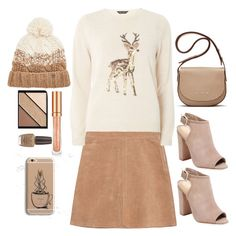 """Beige Style"" by rizkamelia ❤ liked on Polyvore featuring See by Chloé, Dorothy Perkins, Schutz, Elizabeth and James, Turtle Fur, Elizabeth Arden, OPI and Samsung"