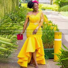 Women's Evening Dresses, Prom Dresses, African Bridesmaid Dresses, Mermaid Gown, African Dress, Appliques, Ruffles, High Low, Gowns
