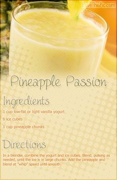 Pineapple Passion Smoothie Recipe smoothie recipe recipes easy recipes smoothie recipes smoothies smoothie recipe easy smoothie recipes smoothies healthy smoothies healthy smoothie recipes for weight eating tips food guide health solutions Recipe Smoothie, Smoothie Fruit, Apple Smoothies, Easy Smoothie Recipes, Easy Smoothies, Breakfast Smoothies, Smoothie Drinks, Weight Loss Smoothies, Healthy Recipes