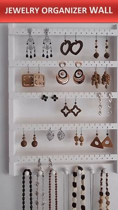 THE PERFECT JEWELRY HOLDER FOR ANY ROOM! Keep your earrings, necklaces and bracelets in neat order, preventing them from getting tangled and damaged! Show off your stunning accessory collection and pick the perfect piece in no time to complement your outfit. #JewelryOrganizerWall #BraceletHolderWood #EarringDisplay #NecklaceHanger #EarringHolder . . . . . Learn how to make this Jewelry Organizer Wall step by step at home, Tap Visit or link on this pin Jewelry Organizer Wall, Jewelry Holder, Jewelry Organization, Shelf Hooks, Wall Shelves, Woodworking Videos, Diy Woodworking, Bracelet Holders, Necklace Hanger