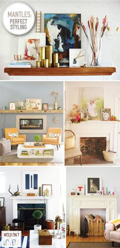 arrow mantle, big wood mantle, photo and flowers mantle, white and blue  mantle, whimsicle mantle  I love a well styled mantle. Layering art, photographs, and objects makes  for a lovely focal point. One thing I love about all the mantle styling in  these photos is that none of the art is hung on the walls, it's all rested  against the wall allowing you to edit and add to it whenever your heart  desires! It gives the whole room a more casual and organic feel.