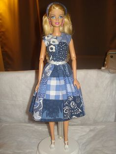 Blue and white patchwork dress and headband for Barbie Dolls - ed390
