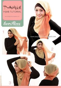 Two-colors hijab tutorial