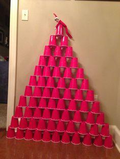 Elf on a Shelf - pyramid of plastic cups