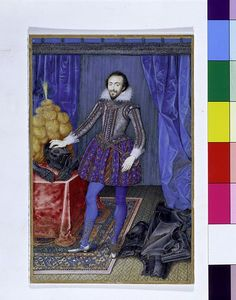 Portrait miniature of Richard Sackville, third Earl of Dorset, watercolour on vellum, painted by Isaac Oliver, Museum Number House Of Stuart, Artist Materials, 16th Century, Georgian, Baroque, Watercolour, Britain, Miniatures, England